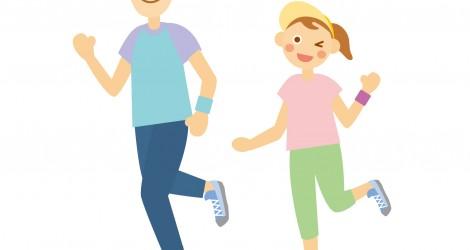 仲良くジョギング