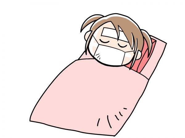 寝込む女の子